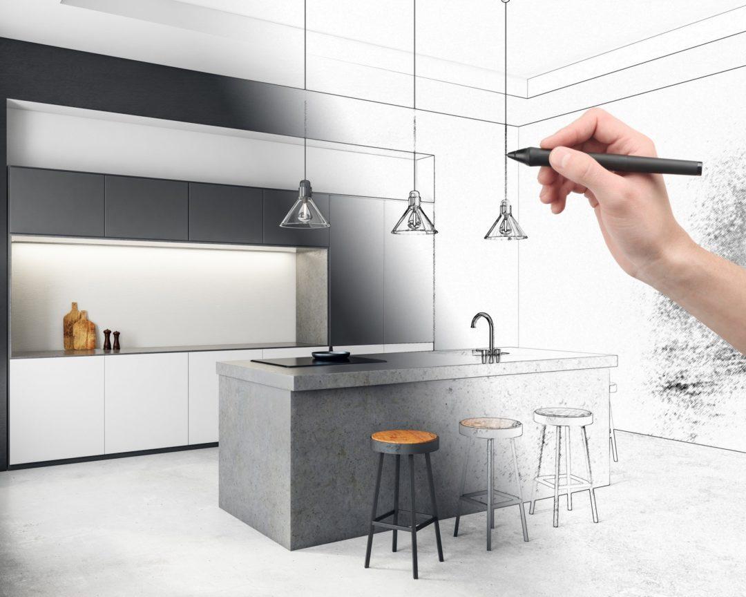sketching design of a kitchen